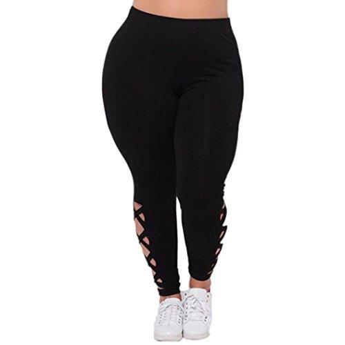 Womens High Waist Slimming Effect Plus Size Open Cross Legging Lace Up Skinny Yoga Sports Pants