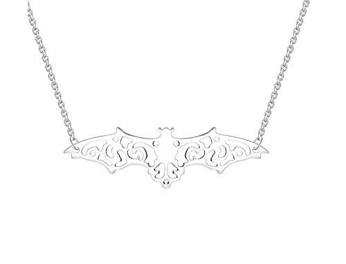 YL Silber Halskette Fledermaus Anhänger,Dark Dreams Gothic Mittelalter Halskette Anhänger Kette Fledermaus Bat silberfarben