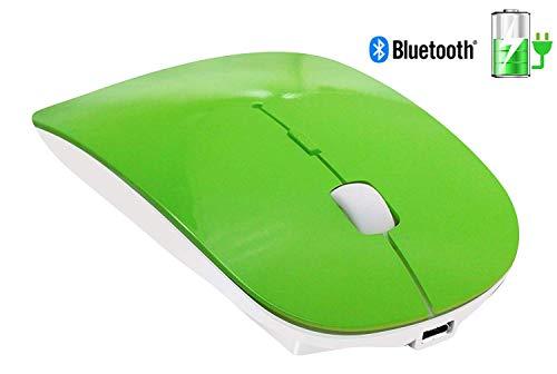 TSMINE Schlanke wiederaufladbare Bluetooth Wireless Mouse Ultra-Slim Mäuse für Notebook, PC, Laptop, Computer, Windows/Android Tablet, iMac MacBook Air/Pro - Grün - Grüne Maus