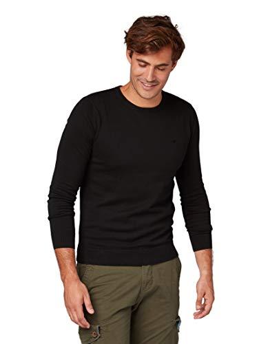 TOM TAILOR für Männer Pullover & Strickjacken Basic Herren-Strick-Pullover Black, L