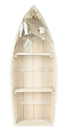 Maritimes Regal in Bootform Bootsregal ca.48x19x7cm cremeweiß Deko