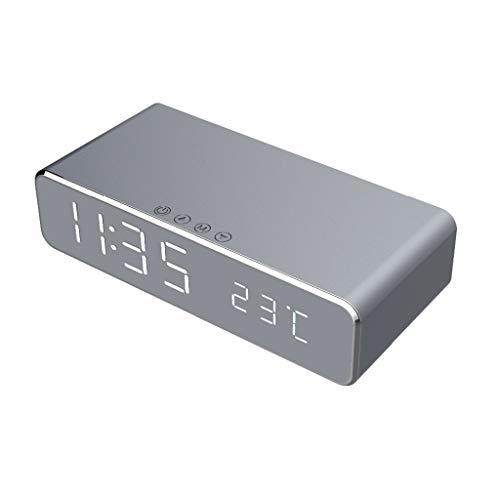 SODIAL Despertador Led Eléctrico Cargador Inalámbrico