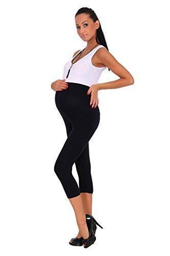 Futuro Fashion - Schwangerschaft Leggings Kurz 3/4 Länge Baumwolle Sehr Komfortabel - 44/46, Schwarz (Baumwolle Schwarzen Kurzen)