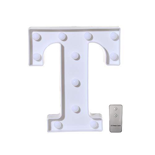 Leuchtbuchstaben, A-Z Remote Warm White LED-Leuchten, Kunststoff Buchstaben Stehen für Festival Party Bar Hochzeit Dekor Chritmas Halloween (T) ()