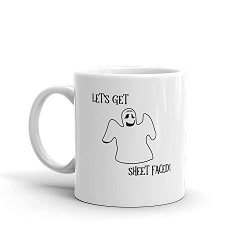 Let's Get Sheet Faced Funny Halloween Novelty Humor 11oz White Ceramic Glass Coffee Tea Mug Cup