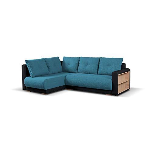 mb-moebel Ecksofa mit Schlaffunktion Eckcouch mit Bettkasten Sofa Couch Wohnlandschaft L-Form Polsterecke Pella (Türkis + Schwarz, Ecksofa Links)