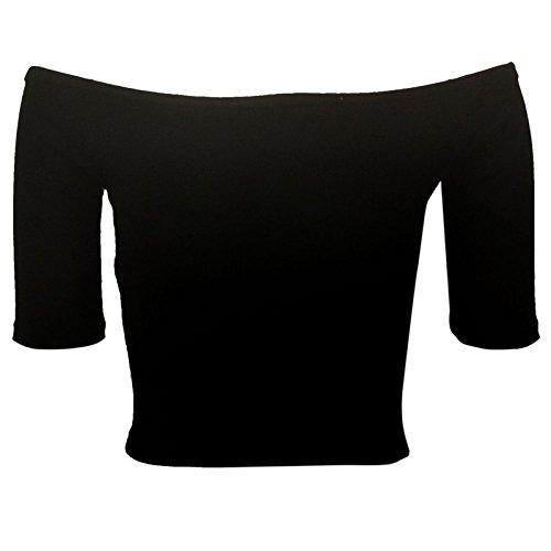 Home di moda da donna ultrasottile Bardot 3/4 A maniche Top da