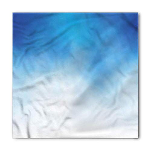 Blue Bandana, White Cloud in Clear Sky, Unisex Head and Neck Tie, Printed Unisex Bandana Head and Neck Tie Scarf Headband, Multicolor S 60x60cm Band Hankie