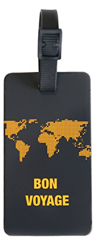 ORB Travel-PT211-Neon Earth-Tangerine- 2-Pack Luggage Name Tags ID Label Set of 2 Tags Business Card Suitcase Label ...