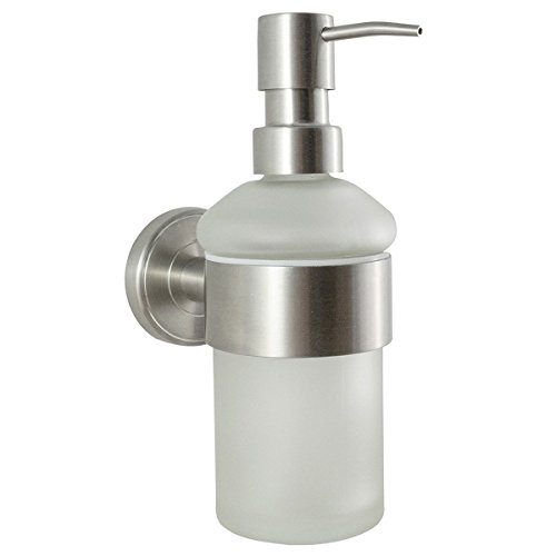 Ambiente Bathroom Range - Soap Dispenser | Wall Mounted | Stainless Steel & Frosted Glass