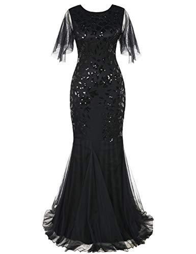 Hochzeit Schwarz Kostüm Kleid - PrettyGuide Damen Abendkleid 1920er Pailletten-Deko Meerjungfrau Hem Maxi lang Ballkleid Schwarz S