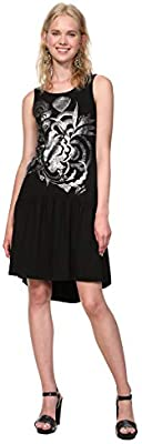 Desigual Dress leeveless Omahas Woman Black Vestido, Negro 2000, XX para ujer