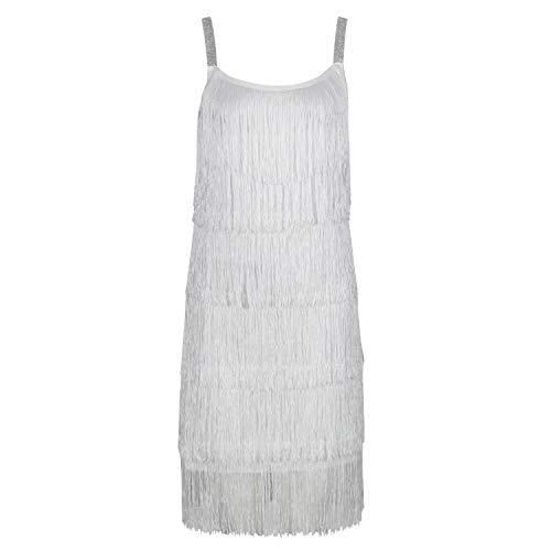 Ro Rox Bebe 1920er Jahre Vintage Great Gatsby Party Kleid mit Haarband - Weiß (40)