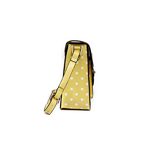 Yasmin Bags Cartella/borsa a tracolla con stile vintage, a pois, con portachiavi e lucchetto incluso, 34,3cm Yellow Y12345D