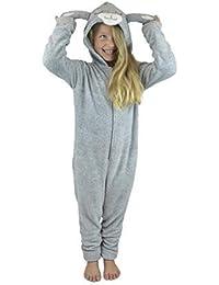 Hari Deals Niña Novedad Estampado Leopardo Mono de Forro Polar Pijama Todo en Uno Mono Enterito