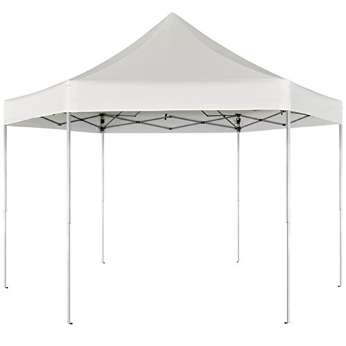 Festnight gazebo pieghevole tenda/gazebo pieghevole esagonale pop-up bianco crema 3,6x3,1 m