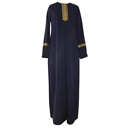XNBZW - Maxi Vestido para Mujer musulmán, Estampado Abaya, Jilbab musulmán, Casual, Kaftan, Temperamento, Manga Larga, túnica árabe, Abaya, Islamic, Kaftan Ramadan Marine XXL