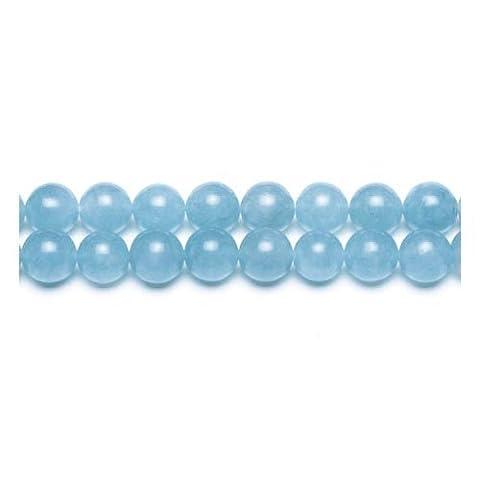 Fil De 62+ Cyan Jade Malaisien 6mm Perles Rond - (GS9951-2) - Charming Beads