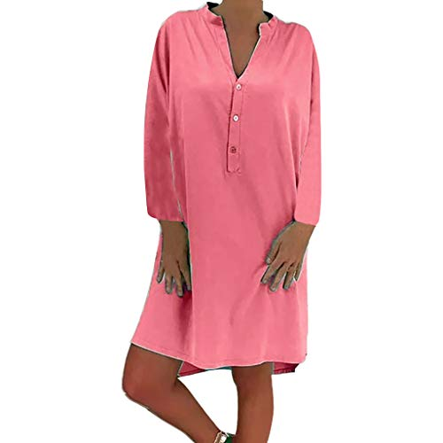 Damen Plue Größe Lose Solide Langarm Baumwolle Leinen Knielanges Kleid Langärmeliges, Einfarbiges Kleid In Übergröße Mit Losem Knopf (Kurze Uggs)