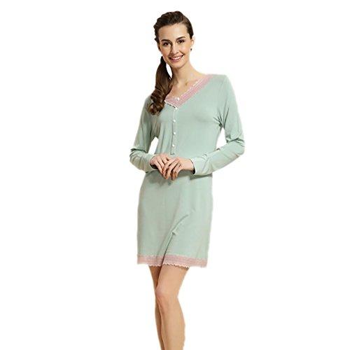 CHUNHUA Dentelle manches longues chemises de nuit 'tricoté pyjama taille modale de vêtements , green , xxl (170/92a) Green