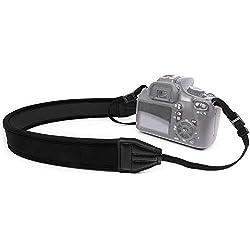 MyGadget Sangle Tour de Cou Appareil Photo - Courroie Grip Confortable en Néoprène pour Caméra par ex. Canon, Nikon, Panasonic, Sony, DSLR, Olympus - Noir