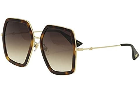 Gucci - GG0106S, Butterfly, metal, women, HAVANA GOLD/BROWN SHADED(002 AE), 56/19/140