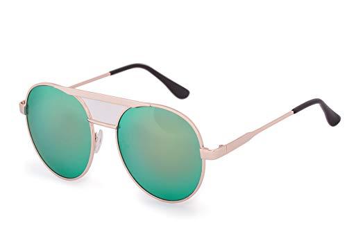 Romens Ltd Damen Sonnenbrille Runden Spiegelglas Cat Eyes Style Sunglasses Brille UV400 (Green Mirrored)