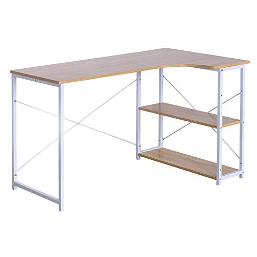 eSituro SCD0039 Schreibtisch Computertisch Büromöbel Couchtisch mit Ablage Holz Stahl Hell Eiche - 2 Schublade Eiche Couchtisch