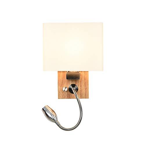 Holz Wandleuchte mit Nachtlicht and Schalter, LED 3W Leselampe Nachttischlampe Warmweiß, Wand Lampe aus Glas E27-Fassung, verstellbarem Flexibles Leseleuchte Wandspot Lampe Innen, Modern - 3 Led-wand