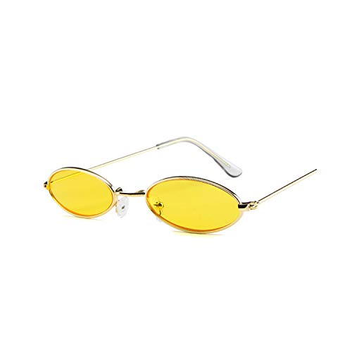 Sportbrillen, Angeln Golfbrille,Small Oval Sunglasses Men Women Retro Metal Frame Yellow Red Vintage Tiny Round Skinny Male Female Sun Glasses UV400 YELLOW