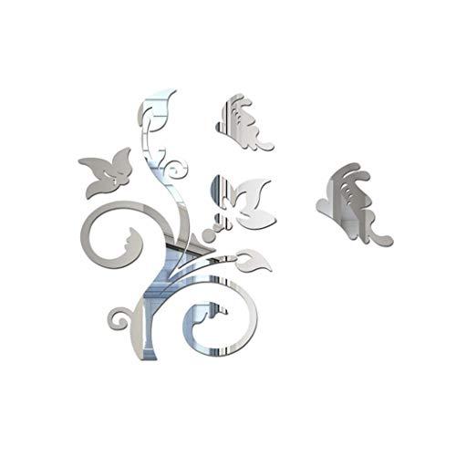 Cebbay 3D DIY Hojas Flor Moda AcríLico Etiqueta de La Pared Modernas Pegatinas Arte de La DecoracióN Mural Wallpaper Peel & Stick DecoracióN de La HabitacióN ExtraíBle DecoracióN Infantil - Plata