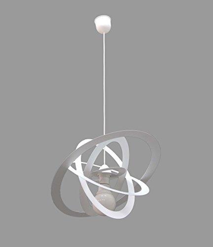 Lampadario sospensione bianco ovale in metallo per camerette bambini 100% made in italy
