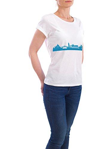 """Design T-Shirt Frauen Earth Positive """"VENEDIG 05 Skyline Print monochrome Teal"""" - stylisches Shirt Abstrakt Städte Städte / Venedig Architektur von 44spaces Weiß"""