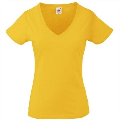 Fruit of the Loom - Lady-Fit Valueweight V-Neck T - Modell 2013 / Sunflower, XL XL,Sunflower