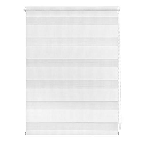Lichtblick Duo-Rollo Klemmfix, 80 cm x 200 cm (B x L) in Weiß, ohne Bohren, Doppelrollo für Fenster & Türen, moderner Sichtschutz, Innovative Kombination aus Rollo & Jalousie