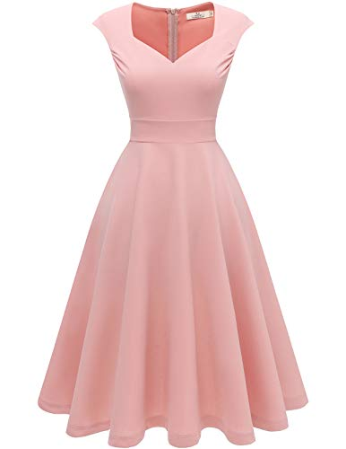 HomRain Damen 50er Retro Vintage Kleid V-Ausschnitt Kurzarm Rockabilly Cocktail Party Brautjungfernkleider Abendkleider Blush M