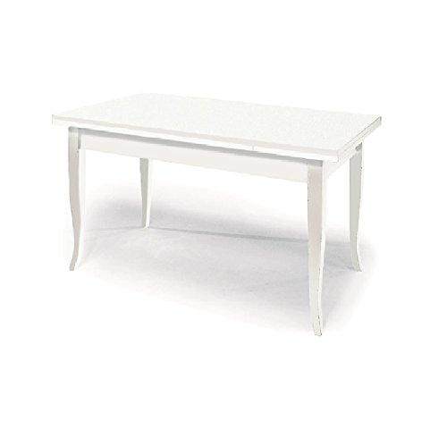 Giò Luxury Table Extensible comportant 2 rallonges DE 40 cm, Style Classique, en Bois Massif MDF Finition Blanc Mat - Dim. 140 x 80