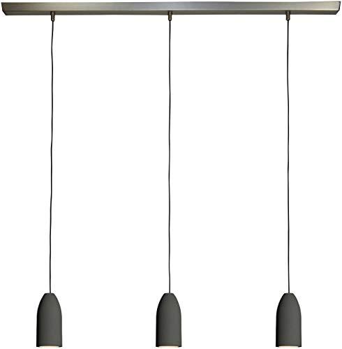 3x Betonlampe'dark edition' (hängend), Textilkabel'Schwarz' (19 Farben wählbar), Deckenschiene 113...