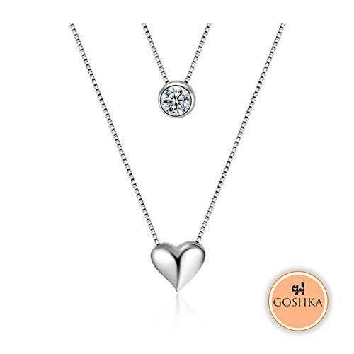 Goshka ® 925 Sterling Silber Doppel-Kette Liebe Herz Halskette mit Zirkonia