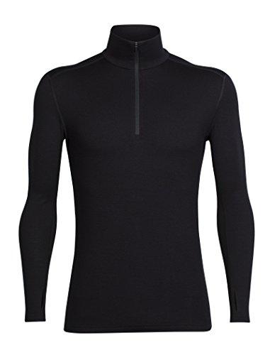 Icebreaker Herren Tech Top Long Sleeve Half Zip Funktionsshirt, Black, L (Long Top Winter Sleeve)