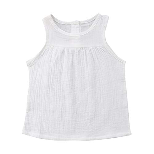 JUTOO Kleinkind-Baby-Kind-Mädchen-Sleeveless Normallack-Geraffte Weste übersteigt beiläufige Kleidung (Weiß,70)