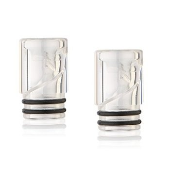 Ss 10 Crystal (2er Pack Plastic Acryl Kunststoff 510 Drip Tip ROUND, ss, 2 O-Ring [small] (crystal))