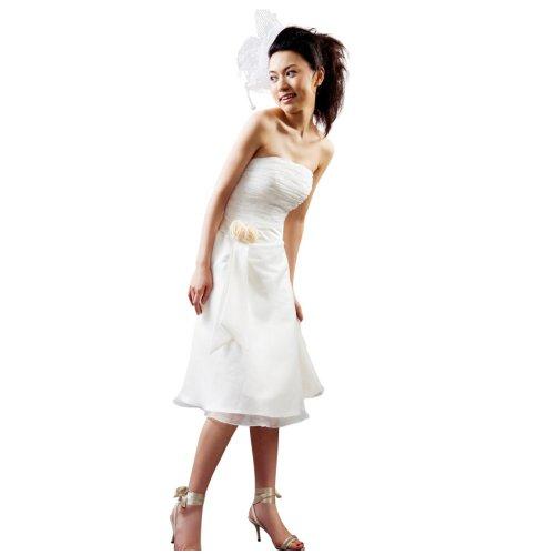 Hochzeits-shop-hamburg Brautkleid für Standamt kurz bestickt mit Blumen veredelt weiß,Gr.36