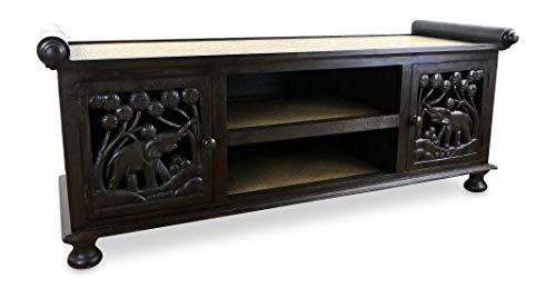 livasia Rattan Sideboard, asiatische TV-Möbel/HiFi-Sideboard der Marke Asia Wohnstudio, Sitzbank mit Elefantenschnitzerei, TV-Bank