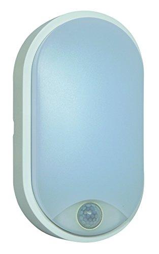 Tibelec 342110 Hublot LED ovale avec Détecteur de mouvement, Plastique, 10 W, Blanc, 60 x 12 x 212 mm