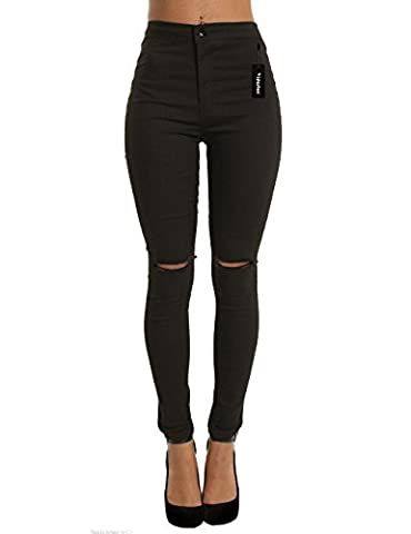 Women High Rise Waist Skinny Jeans Casual Sexy Ripped Knee Ladies Stretch Denim Trousers(Black,S)