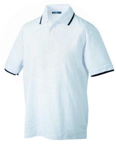 Hochwertiges Herren Piqué-Polohemd mit Kontraststreifen White/Black