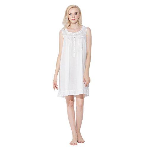 Dorekim Damen Baumwolle kurz Negligee Kleid ärmellos Nachthemd Schlafanzüge Weiß DK2661 (L/XL) (Rüschen Baumwolle Nachthemd)
