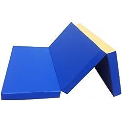 Niro Sport colchoneta 210x 100x 8cm plegable Turn-Estera de gimnasia (Sport Alfombrilla Entrenamiento DF920-Estera para ejercicios impermeable plegable, azul y amarillo