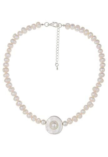 Leslii Damenkette echte Perlen-Kette Süßwasserzucht-Perlen Perlen-Collier Kurze Modeschmuck-Kette weiße Kette 45cm Weiß
